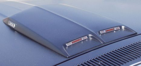 A look at a stock 1969 Ford Mustang Mach 1 hood scoop from the rear