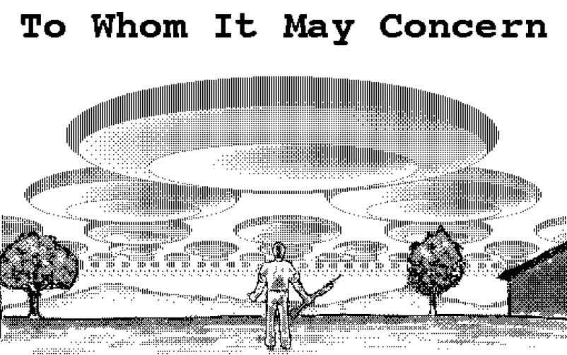 Image of a badly out-gunned human being watching a fleet of flying saucers pass overhead