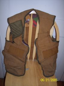 Photo of original hunter's vest used by real life super car driver.