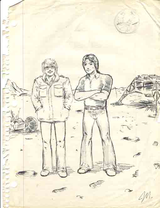 Scence fiction cartoon scenario doodle of me and a friend standing on the site of the 1969 Moon landing.