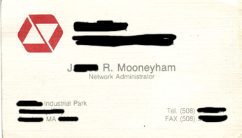 Old corporate business card