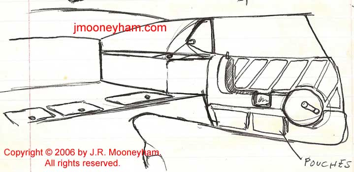 A custom concept sketch for a 1969 Ford Mustang rear interior and door
