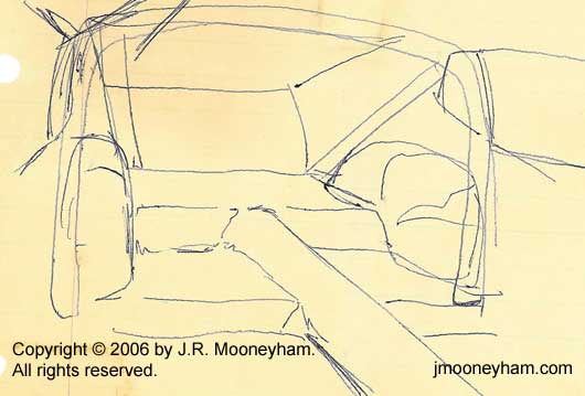 A concept sketch of a 1969 Ford Mustang rear interior including roll bar