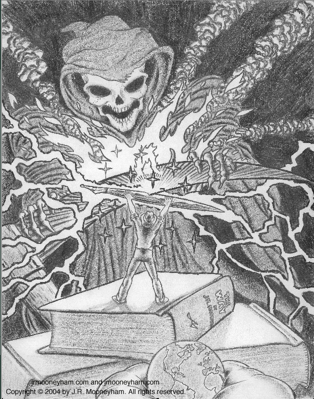 Image of Jerry Staute's conceptual battle against humanity's secret enemy in the sky (a lone man holds off the grim reaper with a massive golden fountain pen).