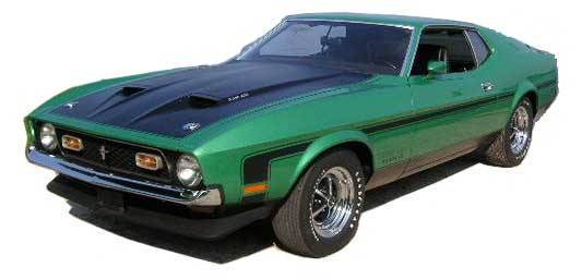 Green and black 1971 Boss 351 Mustang