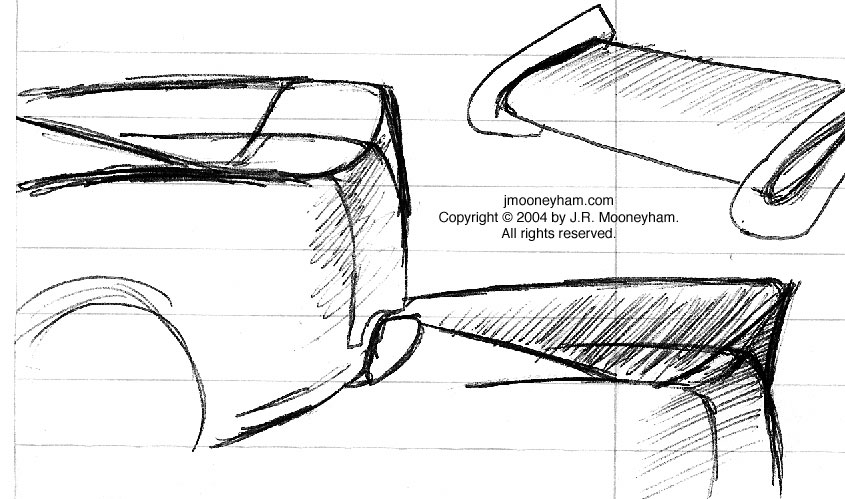 Miscellaneous rear spoiler sketches for custom 1969 Ford Mustang Mach 1 supercar