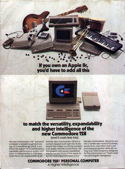 Old Commodore ad comparing the Commodore 128 to an Apple IIc