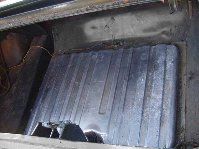 The empty trunk of a 1969 Ford Mustang Mach 1