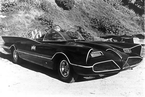 Original TV show batmobile in black and white