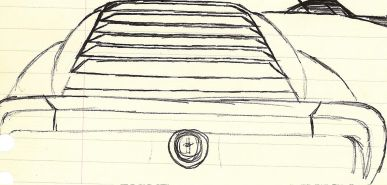 The actual final design for a rear spoiler for custom 1969 Ford Mustang Mach 1 supercar