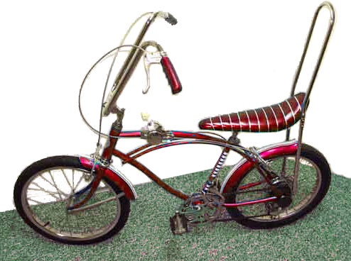 Red 1970s banana seat bicycle