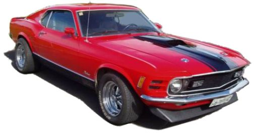 A  friend's red 1970 Ford Mustang Mach 1