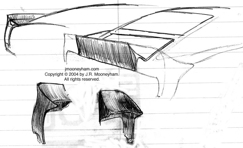 More rear spoiler sketches for custom 1969 Ford Mustang Mach 1 supercar