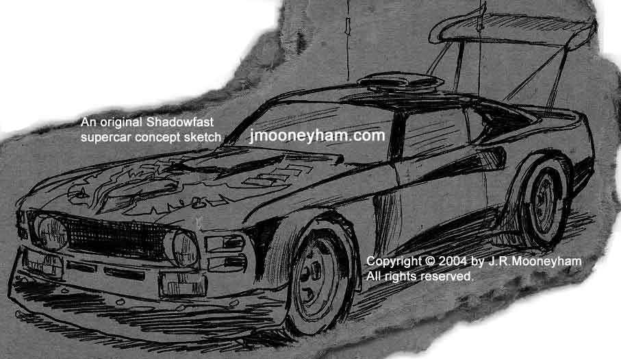 Cardboard sketch of massive rear wing and more for custom 1969 Ford Mustang Mach 1 supercar