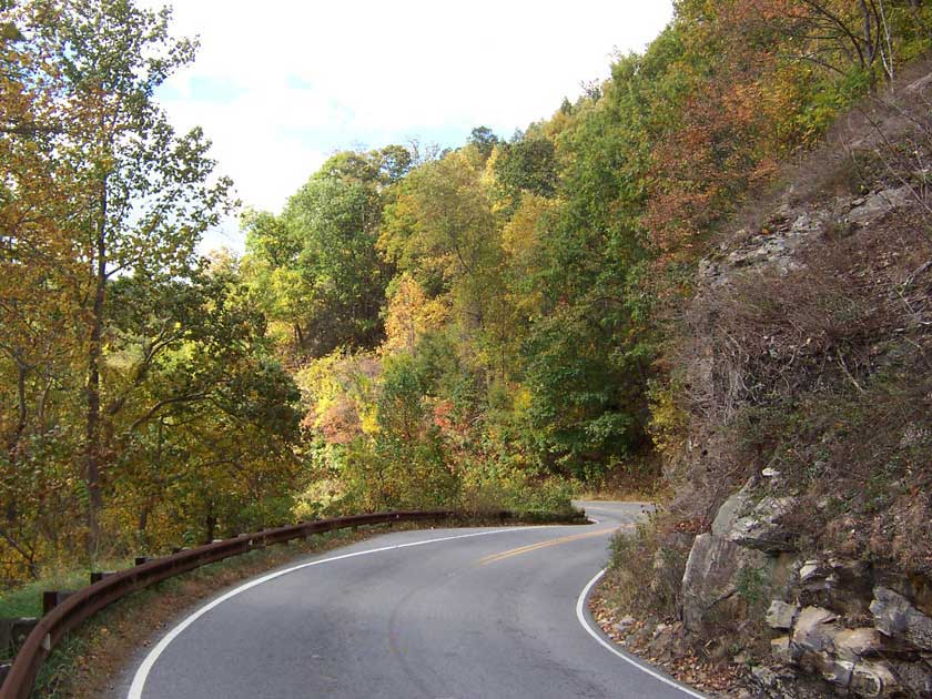 Some gentle mountain road curves