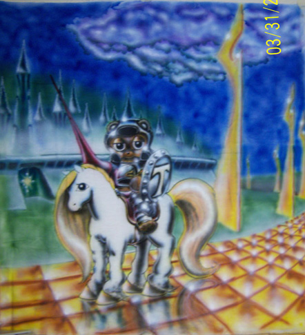 Airbrushed banner of a teddy bear knight in shining armor before an emerald city