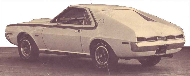 Side view of a white 1969 AMC Javelin AMX
