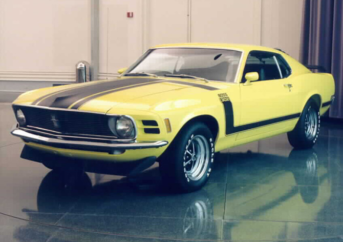Yellow and black 1970 Boss 302 Mustang